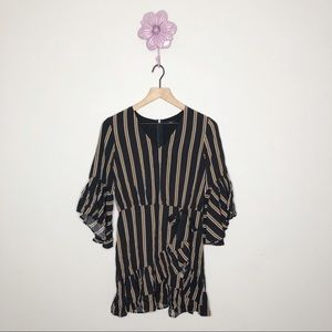New Lucca Couture Black/Gold Stripe Faux Wrap Dres